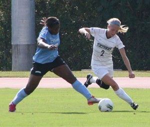 Photo by: Lindsay HartmannFreshman defender Renee Nance (2) keeps the ball away from a Citadel player.