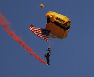 Photo by: Lindsay HartmannIn honor of Military Appreciation Day, members of the Army parachuting team The Golden Knights parachuted into Allen Paulson Stadium minutes before kickoff.