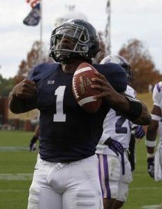 Photo+by%3A+Lindsay+HartmannJunior+quarterback+Jerrick+McKinnon+%281%29+celebrates+after+a+touchdown+in+the+game+against+Central+Arkansas.+McKinnon+was+named+MVP+for+this+season+of+GSU+football.