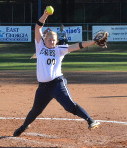 Photo+by%3A+Jessica+StanfeildGSU%27s+Sarah+Purvis+struck+out+31+batters+in+four+games+in+the+opening+weekend+of+the+softball+season.+This+earned+her+the+title+of+SonCon+Pitcher+of+the+Week.