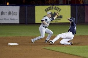 Photo By: Demario CullarsJunior second baseman Brent Pugh (13) slides into second base in Tuesday night's game against Georgia Institute of Technology. GSU fell 11-4 to the Yellow Jackets.