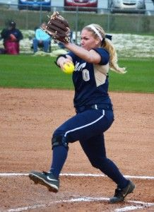 Photo By: Lindsay HartmannJunior pitcher Sarah Purvis winds up and throws a pitch.