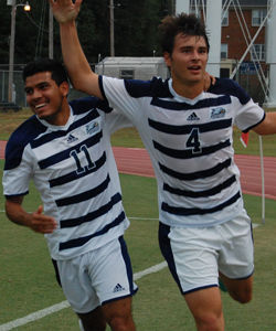 Sophomore+defender+Reed+Norton+%284%29+celebrates+with+junior+midfielder+David+Vargas+Masis+%2811%29+after+Norton+records+a+goal+against+Presbyterian+College.Photo+by%3A+Christal+Riley