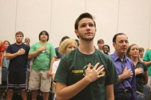 Anthony+Nordman%2C+freshman+political+science+major%2C+recites+the+Pledge+of+Allegiance.Photo+by%3A+Amanda+White