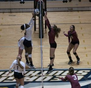 Junior middle Kym Coley (6) goes toe-to-toe with an Elon University blocker. Coley was held to three kills in GSU's first match against Elon.Photo by: Brandon Warnock