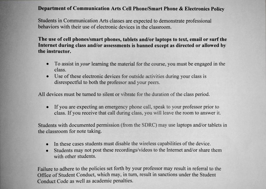 No cell phones in Sanford Hall