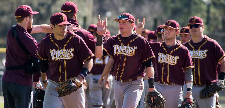 Pirate baseball team celebrates a home win against Belmont Abbey from last season - Saturday, May 4, 2015 (Armstrong Communications)