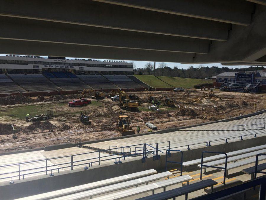 Georgia+Southern+installs+turf+at+Paulson+Stadium