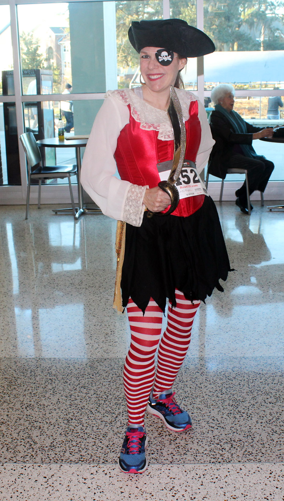 web Abby Hollingsworth, a Savannah resident, in the Student Union dressed as a pirate before the Pirate Road Race Saturday February 13, 2016