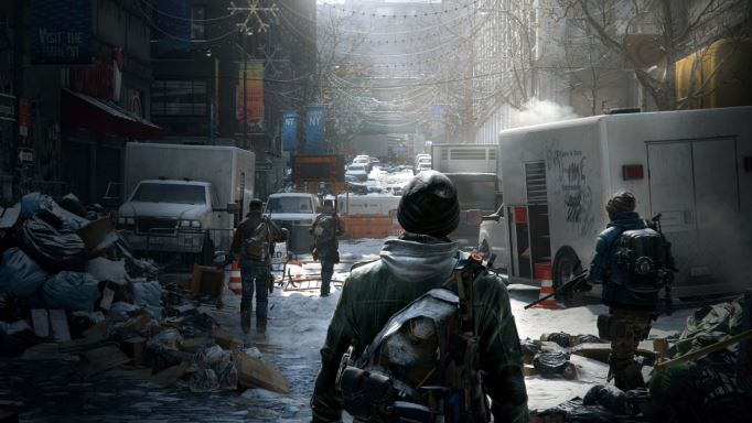 "A shot from ""The Division"" as a soldier clamber over the ruins of New York City. (via UbiBlog)"