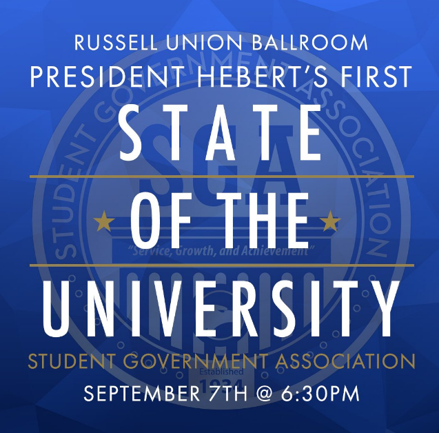 President+Hebert%2C+Jean+Bartels%2C+Provost+and+Vice+President+for+Academic+Affairs%2C+Teresa+Thompson+Vice+President+for+Student+Affairs+and+Robert+Whitaker%2C+Vice+President+for+Business+and+Finance+listened+to+student%27s+concerns+at+the+annual+State+of+the+University+address.%C2%A0