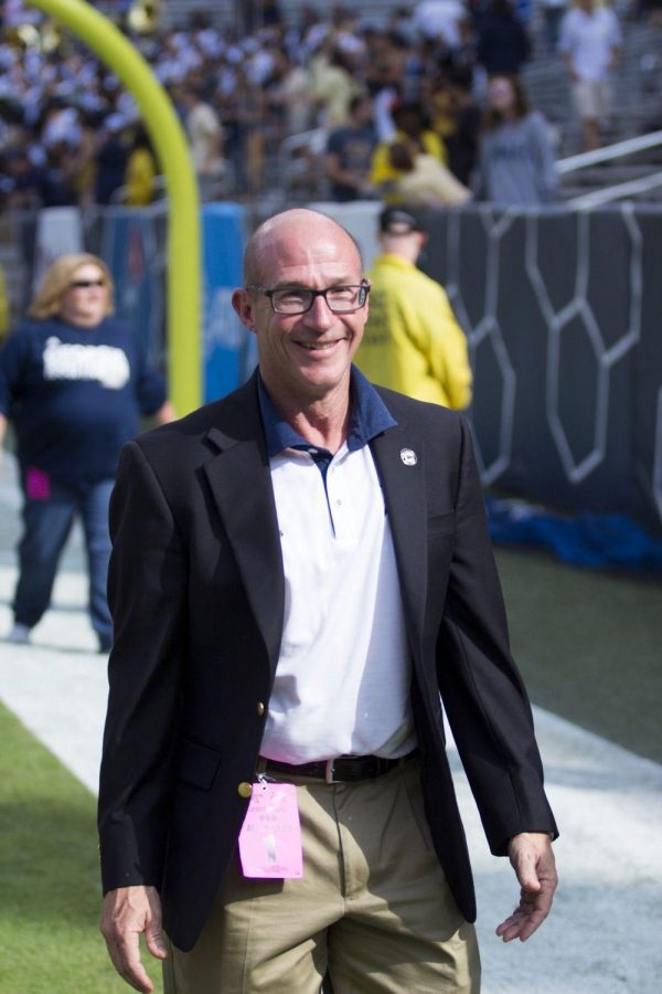 President Hebert is on the field at the Georgia Tech game. Hebert paid close attention to Hurricane Matthew developments.