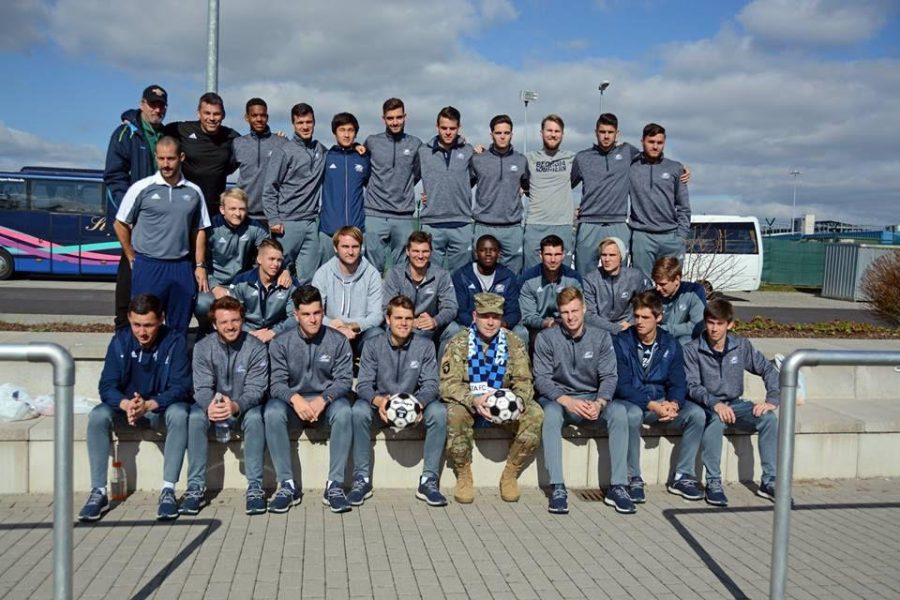 The men's soccer team with Lt. Gen. Ben Rogers on a US military base in Germany