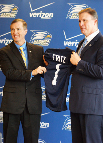Fritz was the head coach of Sam Houston State's football team for three years before taking the head coaching job here at GS in 2014. Fritz left to take the head coaching position at Tulane University at the end of 2015.