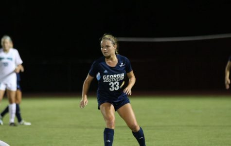 GS sophomore Nicole Aussin scored her second goal of the season en route to a 1-0 Eagle victory over Coastal Carolina on the road.