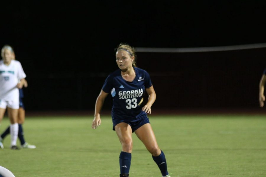 GS+sophomore+Nicole+Aussin+scored+her+second+goal+of+the+season+en+route+to+a+1-0+Eagle+victory+over+Coastal+Carolina+on+the+road.