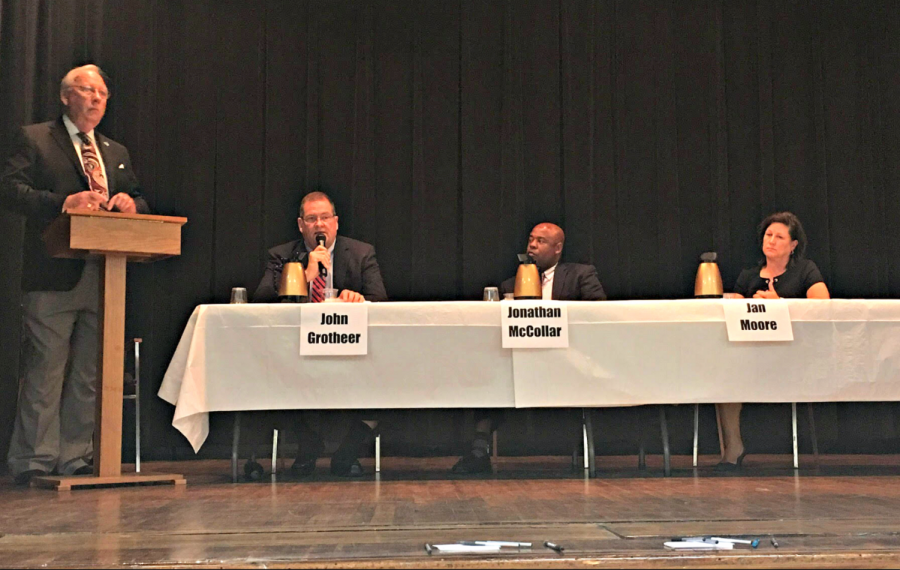 Statesboro+mayoral+candidates+answered+community-submitted+questions+during%C2%A0%C2%A0%C2%A0a+public+forum+at+the+Transitions+Learning+Center+on+Monday+evening.+Photo+by+Brett+Daniel.%C2%A0