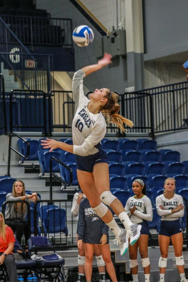 Senior Cathrine Murray rises up to serve for Georgia Southern. She led the Eagles with 9 kills against South Alabama this weekend.