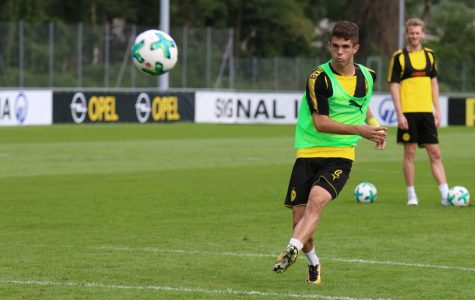 Christian Pulisic at one of his practices with Borussia Dortmound. Pulisic was the high point of the U.S. disappointing campaing.