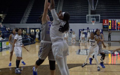 Senior Sierra Butler goes up for block in a game at Hanner Fieldhouse earlier this season. The Eagles lost to Savannah State, 71-67, on Wednesday.