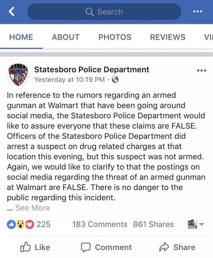 Rumors of gunman at Statesboro Walmart  proven false