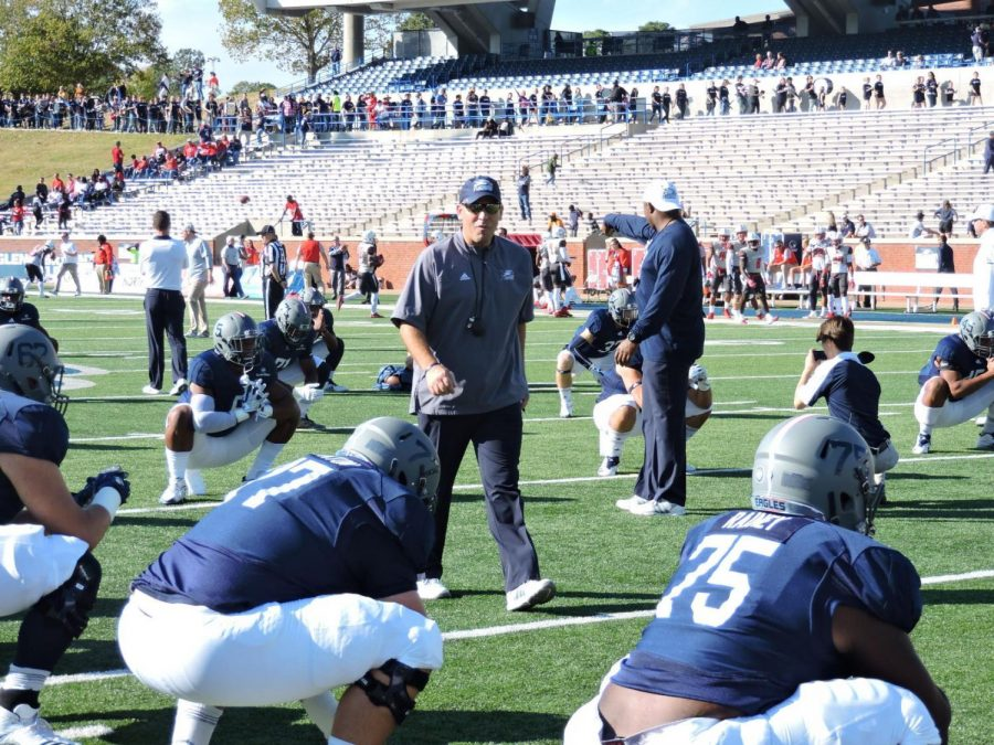 Head+coach+Chad+Lunsford+pacing+the+field+before+the+first+win+of+the+season+over+South+Alabama.%C2%A0