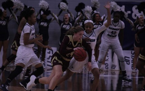 Sophomore guard Amira Atwater defends against a Texas State player.