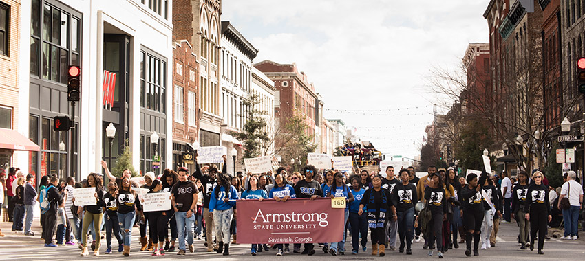 Armstrong students participate in the annual MLK Parade downtown.