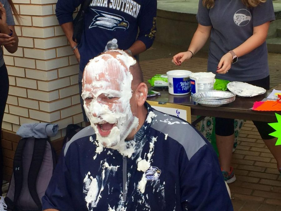 Eagles+head+coach+Chad+Lunsford+allowed+the+Georgia+Southern+University+community+to+throw+pies+at+him+for+a+fundraising+event.%C2%A0