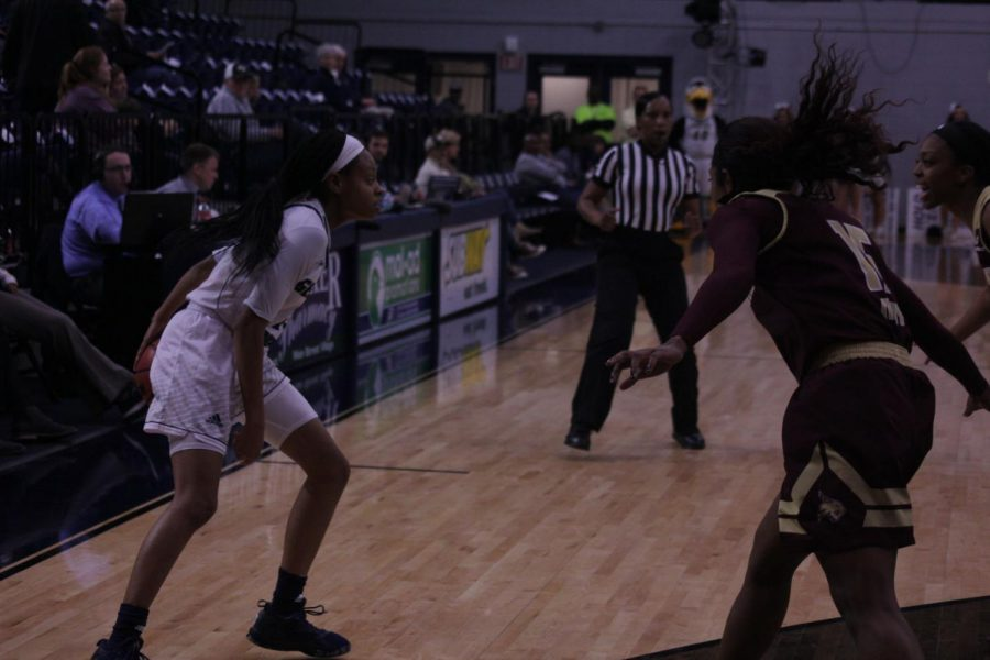 Sophomore guard Amira Atwater has developed into being one of the best players for the Eagles this season.