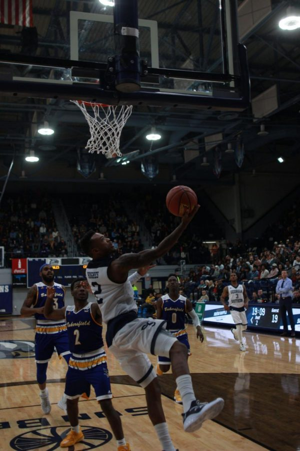 Senior guard Mike Hughes became the first Eagle in modern era to tally 1,200 points, 500 rebounds, 200 assists and 100 steals.