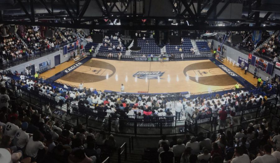 The Georgia Southern Eagles faced the Georgia State Panthers in Statesboro on Friday, Feb. 16. Hanner Fieldhouse was packed to capacity.