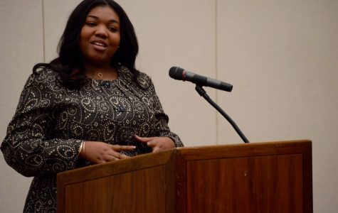Executive Vice Presidential candidate Amber Monkou address the Georgia Southern University student body.