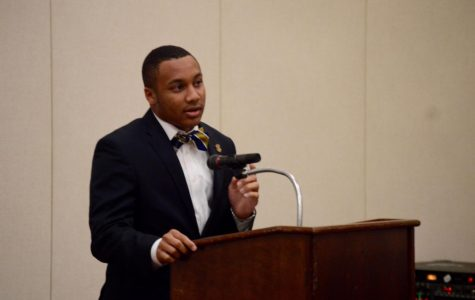 SGA Presidential candidate Jarvis Steele answers a question provided by the SGA moderator.
