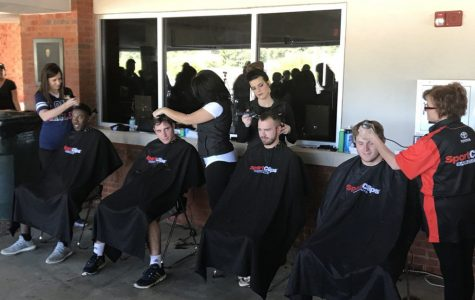 The GS men's baseball team shaved their heads after Saturday's game against Coastal Carolina.