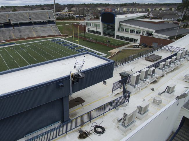 A sensor has been placed on top of Paulson Stadium to track solar energy.