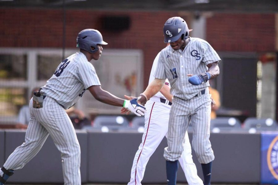 Tyler+Martin+%2838%29+had+two+hits+and+an+RBI+in+Wednesday%27s+game+against+South+Alabama.+Jason+Swan+%2813%29+had+a+run%2C+a+hit+and+an+RBI.%C2%A0