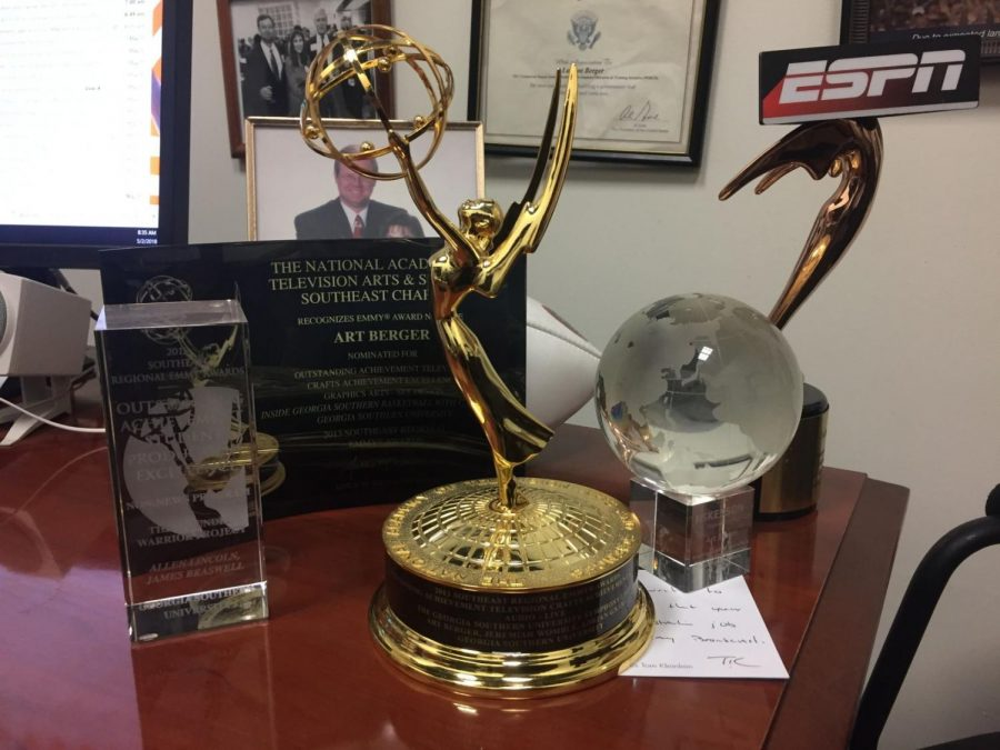 This year's four Emmy nominations are not the first for the GS MDC. A 2013 Southeast Regional Emmy sits on Art Berger's desk.