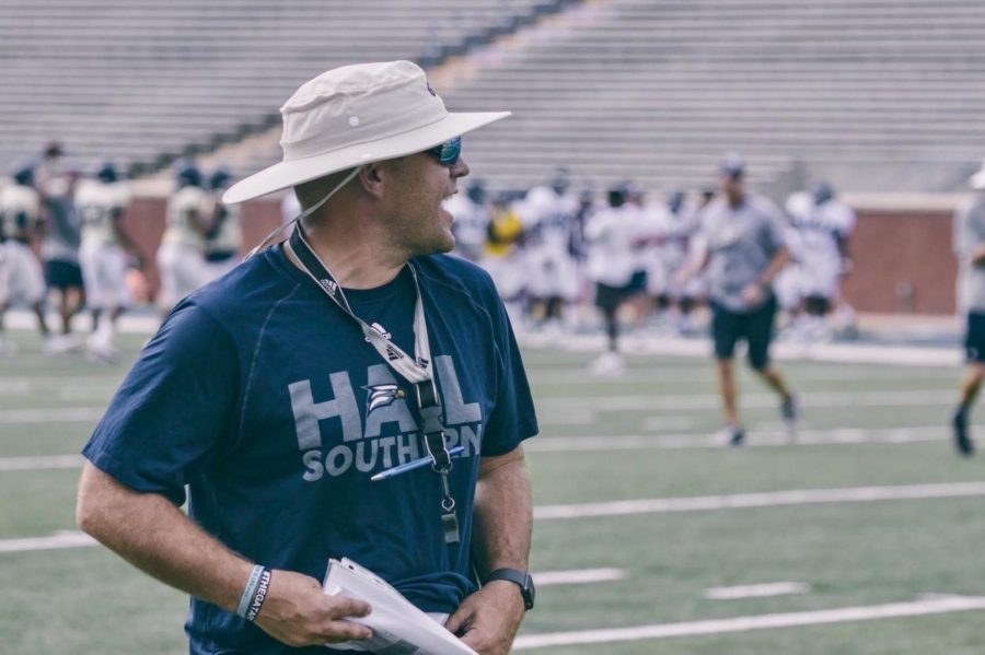 Head coach Chad Lunsford leads a scrimmage with less than two weeks before the season begins.