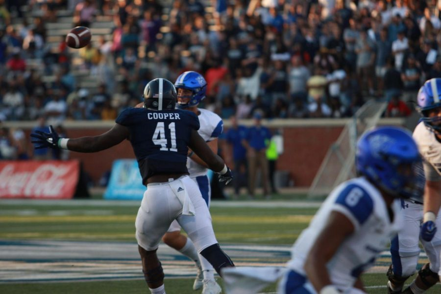 Redshirt-senior defensive end Deshon Cooper swarms Georgia State's quarterback in last year's game. Cooperwill be vital in wreaking havoc on opposing quarterbacks, making the jobs of the linebacker core and defensive backfields much easier.