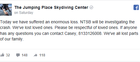 The plane was from The Jumping Place Skydiving Center located in Statesboro. JPSC called the crash an