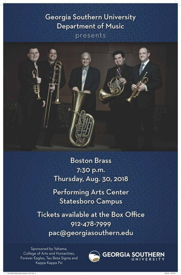 The Boston Brass, a brass quintet based out of Boston, Massachusetts, founded in 1986 is coming to Georgia Southern University to hold a series of master classes, perform a concert and play at halftime with the Southern Pride Marching Band at Saturday's football game.