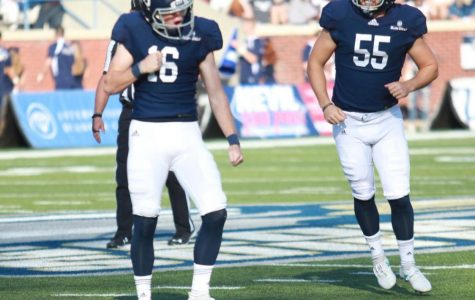 Redshirt junior kicker Tyler Bass (16) celebrates after a made field goal against Georgia State last season. Bass was named to the Lou Groza watch list for the best kickers in FBS.