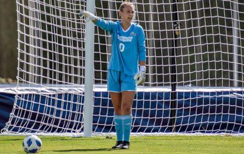 Redshirt senior goalkeeper Jocelyn Springer directs her team on a goal kick. Springer was named Sun Belt Defensive Player of the Week last week.