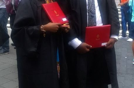 Malik Jones and his friend Diane Asante graduating from Bard High School Early College with their their Associates Degree in Liberal Arts.