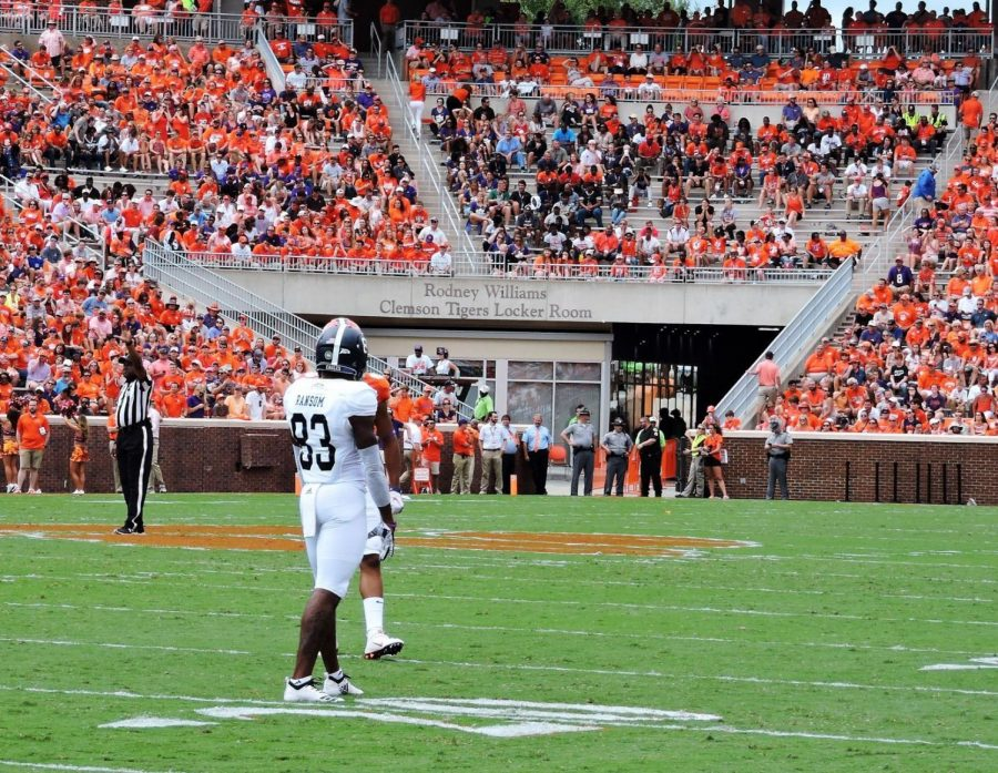 Colby Ransom lines up in the loss against Clemson. Ransom was named 2014 Student Athlete of the year at South Gwinnett High School.