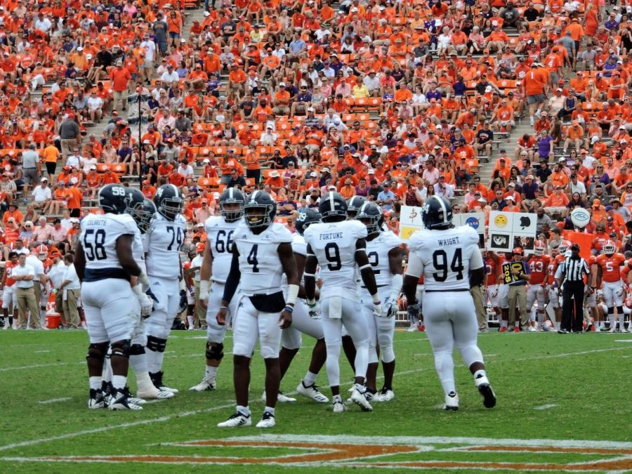 Redshirt-sophomore quarterback Shai Werts (4) reads the play call in the second quarter of the game against No. 2 Clemson. The offense finished with just 140 offensive yards on the afternoon.