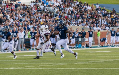 Redshirt-sophomore quarterback Shai Werts ran to the left to score a 23-yard touchdown against South Carolina State. Werts had three rushing touchdowns on the night.