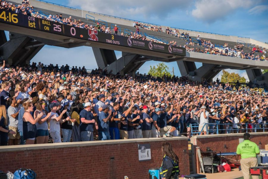 Fans cheer before kickoff of the 2018 football season against South Carolina State. The Georgia Southern Eagles are now ranked 67 in the CBS Sports 129 poll, ranking all FBS teams.