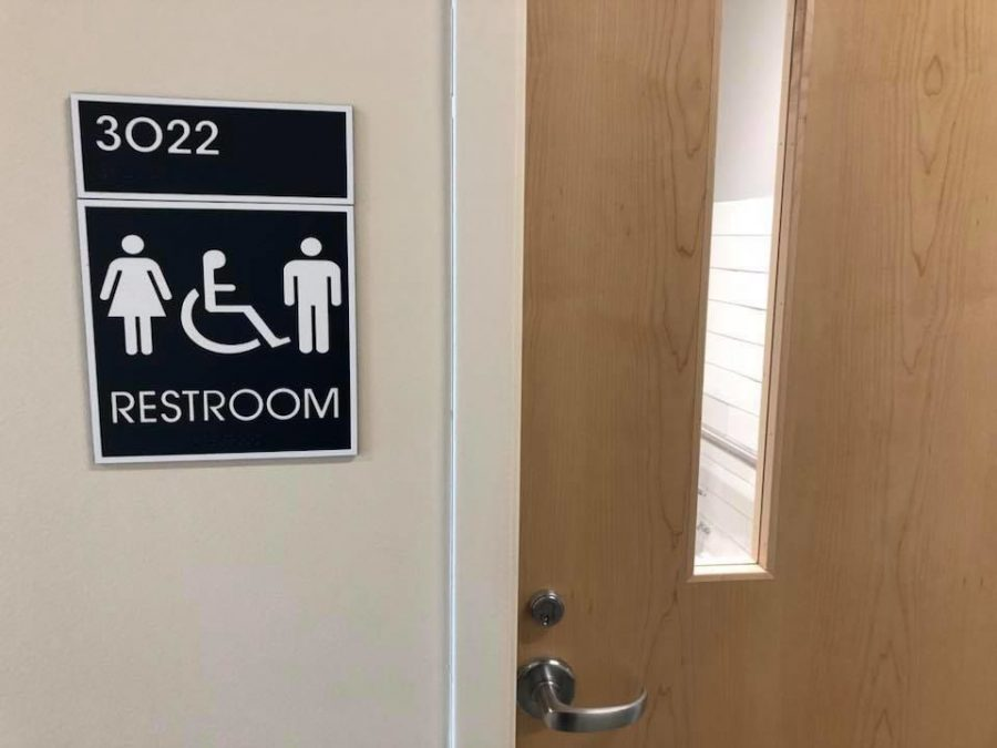 A unisex restroom on the third floor of the new Interdisciplinary Academic Building was found Monday with a window that revealed the interior of the bathroom, including the toilet. Georgia Southern University was aware of the door frame and said it was temporary.